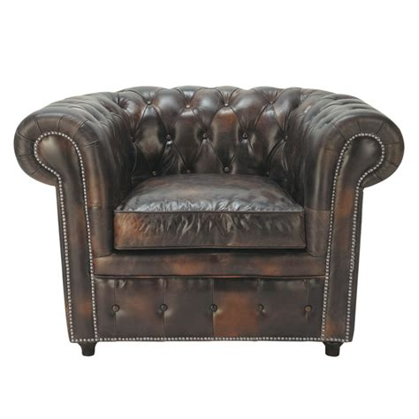 leather chesterfield armchair chesterfield leather button armchair in mocha vintage maisons du monde