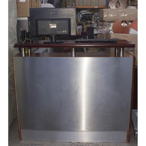 Stainless Steel Reception Desk Secondhand Shop Equipment Bar Units Modern Stainless Steel Reception Desk Mf2215