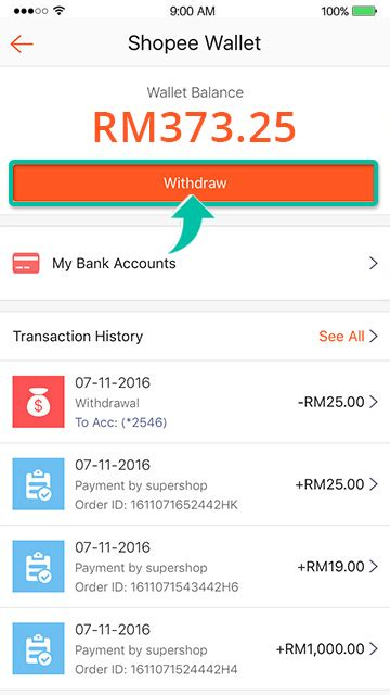 how do i withdraw money from my shopee wallet shopee