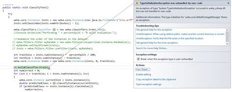 java io console java the type initializer for weka