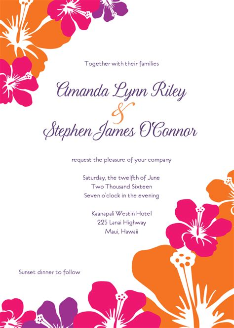 hawaiian menu template hawaiian wedding invitations template best template