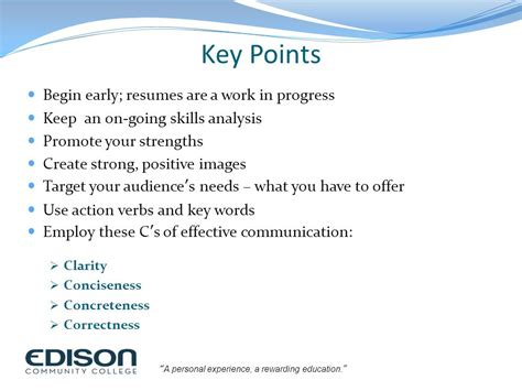 Resume Key Points by Building A High Impact Resume Ppt