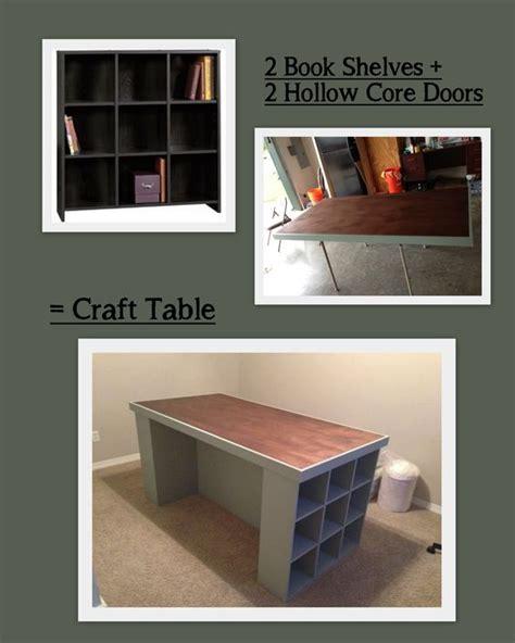 hollow door table craft room table bookshelves hollow door and