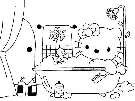 bathtub fun hello kitty coloring pages in bathtub fun coloring page