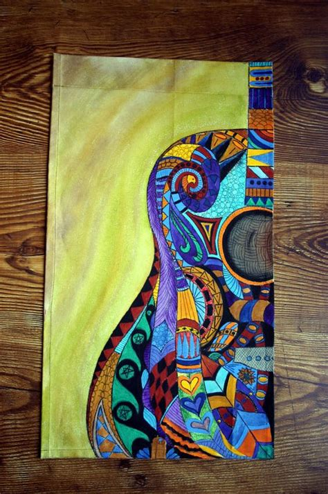 acrylic painting zentangle acrylic painting on canvas acrylic guitar by