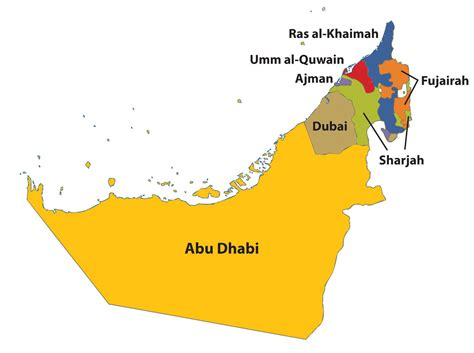 Uae Search Outline Map Of Uae With 7 Emirates Search