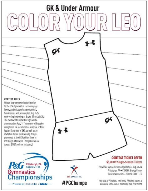Usag Gk And Under Armour Host Color Your Leotard Contest Leotard Template Design