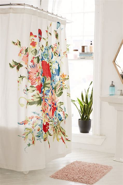 flowered shower curtains romantic floral scarf shower curtain urban outfitters