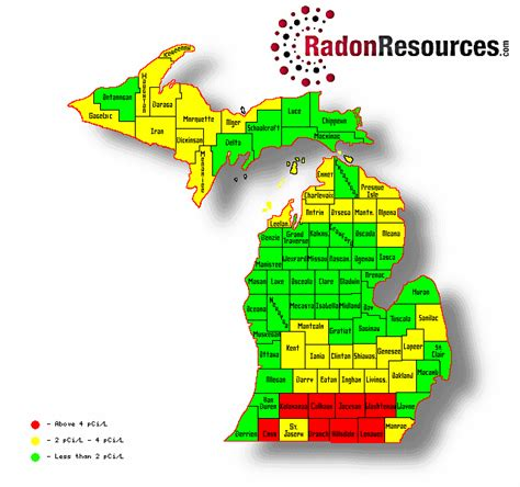 Michigan Time Zone Map by Michigan Radon Mitigation Testing Amp Levels Radonresources