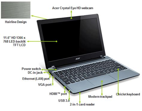 Laptop Acer Aspire V5 121 C72g32n acer aspire v5 121 c72g32nbb c 70 1 ghz windows 8 64 bit 2 gb ram 320gb ebay