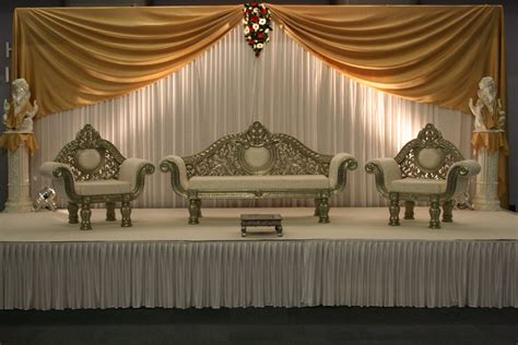 White Chaise Wedding Stage Wedding Stages Walima Stage Wedding
