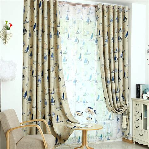 Nursery Curtains Sale Insulated Mediterranean Style Beige Polyester Nautical Nursery Curtains