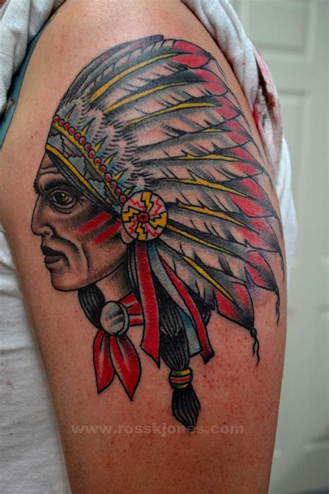indian chief tattoo ross k jones artist san francisco ca original