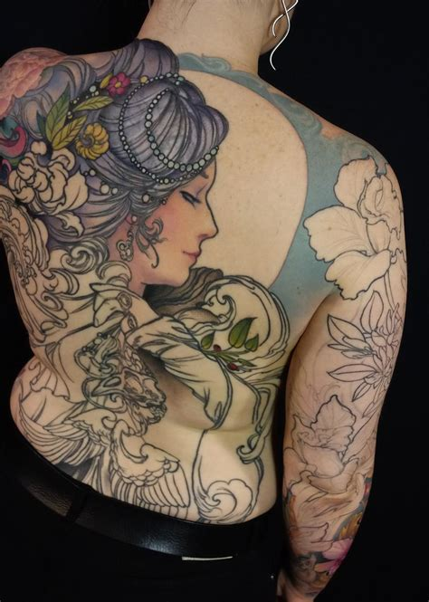 full back piece by watsun atkinsun tattoonow in progress realistic orange tiger and rose should blade