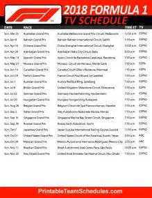 F1 Calendar 2018 Dates Formula One Schedule 2018 Printable F1 Schedule