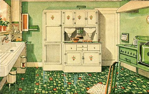 Hoosier Kitchen Cabinets by 1929 Green And White Kitchen With Built In Cabinetry