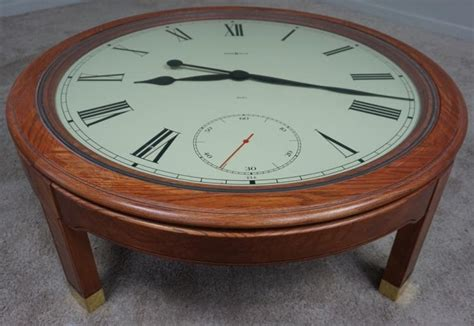 american oak howard miller clock coffee table