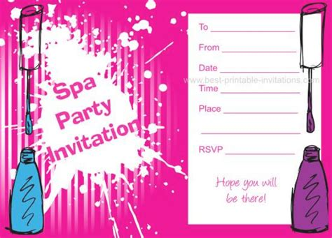 Free Printable Girls Spa Party Invitation Orderecigsjuice Info Free Printable Spa Invitations Templates