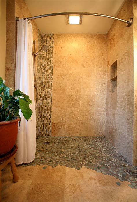 curbless shower hawthorne tile curbless shower with scribed pebbles