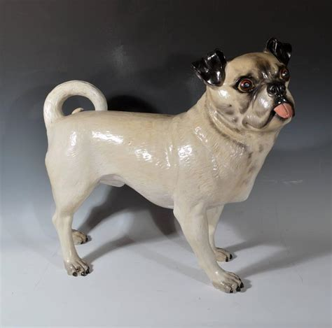 pug furniture large sized pottery figure of a standing pug for sale at 1stdibs