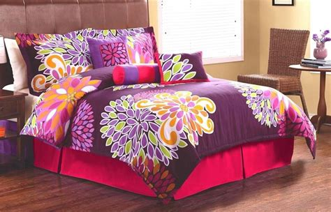 teenage bed sets girls teen flowers pink purple twin full queen comforter