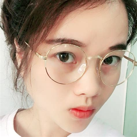 longkeeper oversized korean glasses frame clear lens retro gold eyeglass optic