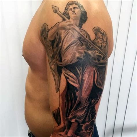 colored angel tattoo usual designed colored with spear on half