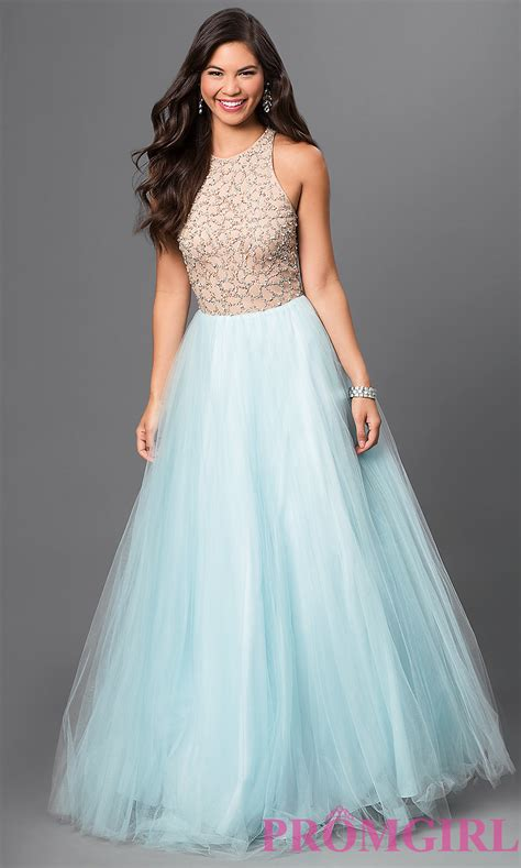 To Be Gown by Blue Terani Beaded High Neck Dress Promgirl