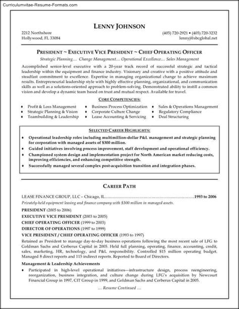 executive resume format 28 images executive resume