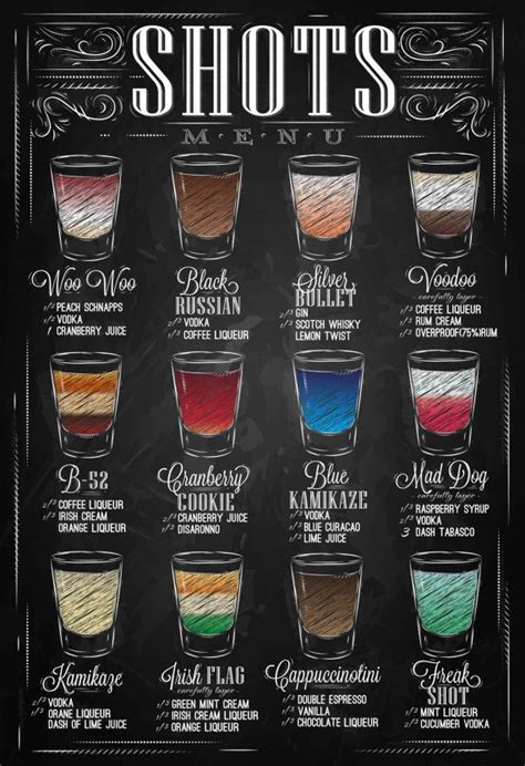 chalkboard print kitchen art alcohol beverage vodka shots menu bar shots recipes drinks