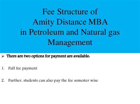 Amity Lucknow Fee Structure For Mba by Amity Distance Mba In Petroleum And Gas Management