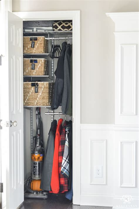 Foyer Closet Organizer by Organized Foyer Coat Closet Before And After Makeover