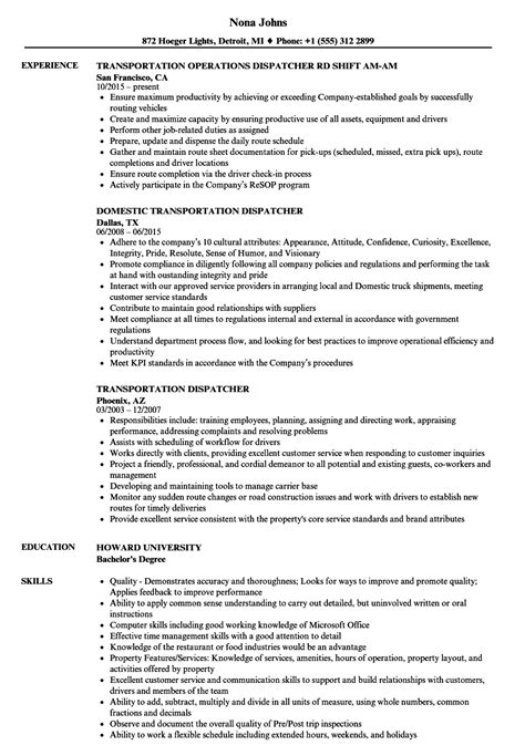 transportation dispatcher resume sles velvet
