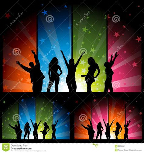Nightclub Floor Plans by Dancers And Colorful Star Burst Banners Stock Image