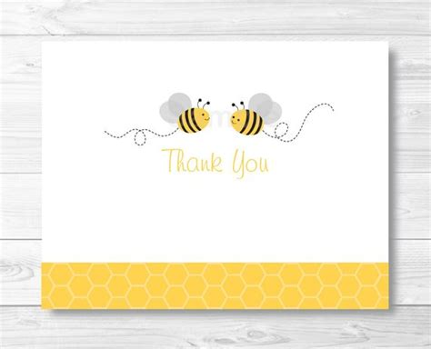 Bumble Bee Thank You Card Template Folded Card Template Bumble Bee Baby Shower Printable Folded Thank You Card Template