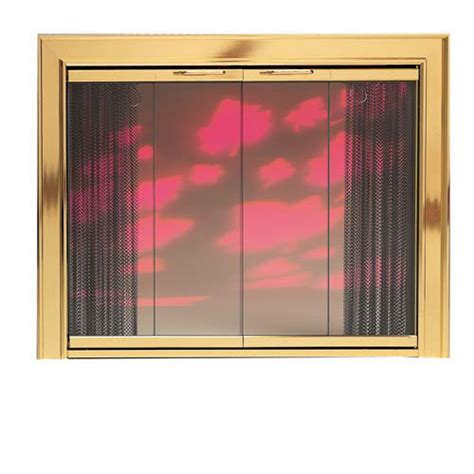 gallery polished brass glass fireplace door assembly