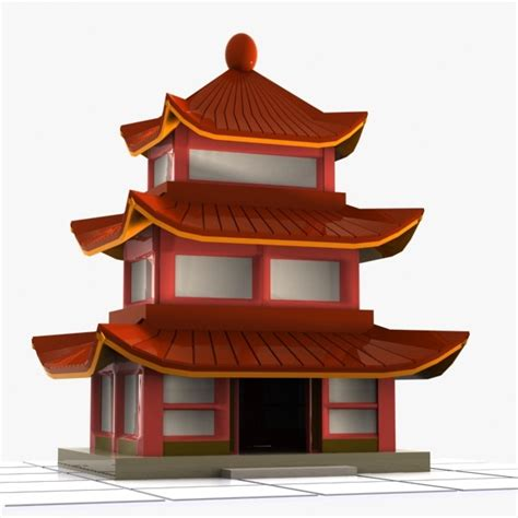 oriental house 3ds cartoon chinese house