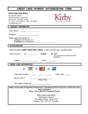 credit card payment authorization template forms and