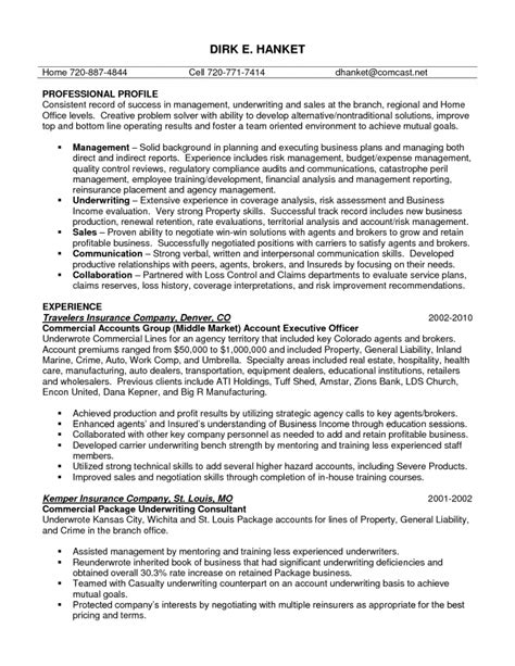 insurance underwriter resume sle insurance underwriter resume objective 28 images