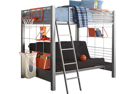 4 Bed Bunk Beds Build A Bunk Gray 4 Pc Futon Loft Bed Bunk Loft Beds Metal