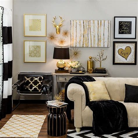 Black White And Gold Living Room - bring home big city style with metallic gold and black