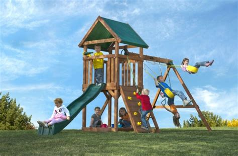 affordable swing sets affordable swing set for small yards with sandbox slide