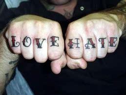 tattoo knuckles love hate tattoo phrases