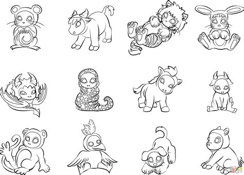12 chinese zodiac animals coloring page free printable