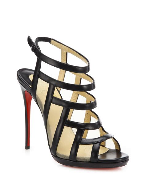 christian louboutin leather mesh cage sandals in