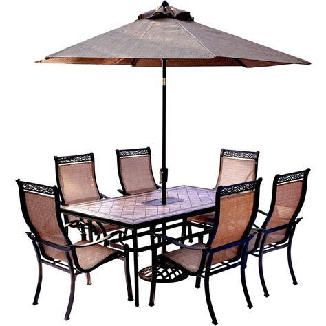Patio Table Chairs Umbrella Set by Hanover 7 Outdoor Dining Set With Rectangular Tile