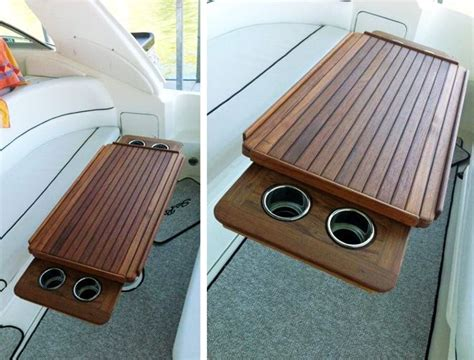 pontoon boat table accessories nt27 marine teak table with fiddles and retractable cup