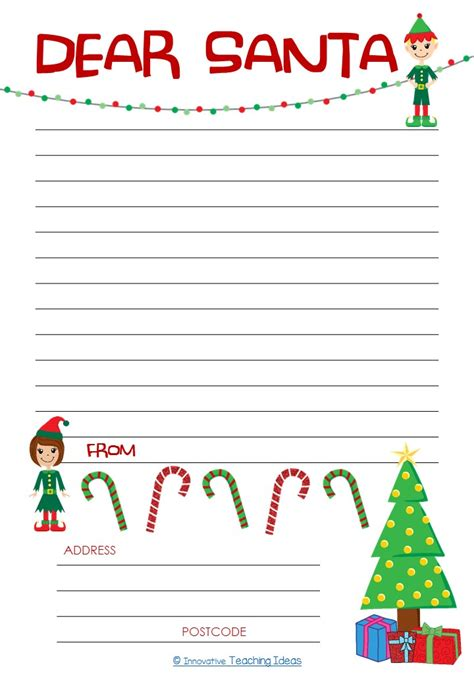 Dear Santa Letter Template Freebie Literacy Ideas Letter To Santa Template