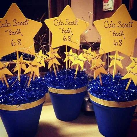 blue and gold centerpiece ideas blue gold centerpieces cub scouts