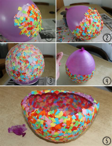 como hacer manualidades con cosas resiclable imagen cuenco de papeles de colores hecho con globo
